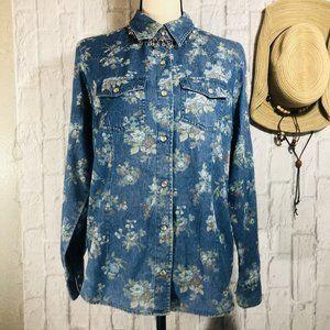 Vintage Victoria Jones Denim Western Flower Shirt